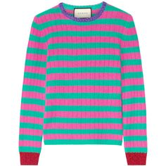 Gucci Metallic-trimmed striped cashmere and wool-blend sweater (1,805 PEN) ❤ liked on Polyvore featuring tops, sweaters, gucci, jumpers, striped, pink, pink cashmere sweater, pink jumper, striped crew neck sweater and cashmere crew neck sweater