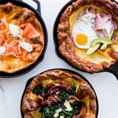 Savory Dutch Baby Recipe. I love this recipe. Instead of topping it with savory food I actually used blueberries , powder sugar and maple syrup and it was delicious.
