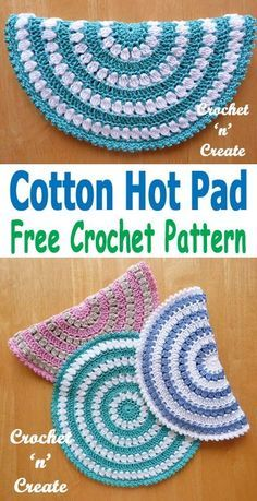 Crochet hot pad Free Crochet Pattern Crochet this cotton hot pad and save your dining room table from marks etc, free crochet pattern from Crochet Kitchen, Crochet Home, Crochet Crafts, Crochet Projects, Crochet Baby, Knit Crochet, Crochet Cardigan, Crochet Potholders, Free Crochet Potholder Patterns