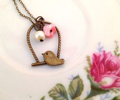 Vintage Style Bird Necklace. Brass. Pink Flower. by MintMarbles, $12.00