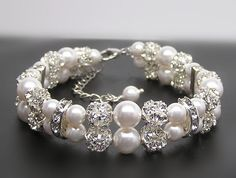 Bridal bracelet2 Strands of pearl and rhinestone by Godstonestudio, $40.00