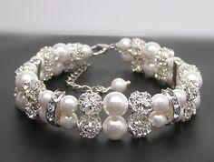 Bridal bracelet-2 Strands of pearl and rhinestone bracelet-Swarovski pearl bracelet-Wedding jewelry-Wedding bracelet