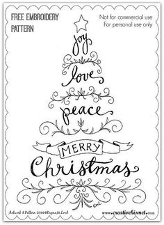 Paper Embroidery Ideas Christmas Tree Text Embroidery Pattern - Image courtesy of Regina M. Lord - This free hand embroidery pattern uses evergreens and negative space to express a very merry seasonal sentiment. Paper Embroidery, Cross Stitch Embroidery, Embroidery Ideas, Hand Embroidery Patterns Free, Kurti Embroidery, Embroidery Sampler, Garden Embroidery, Embroidery Tattoo, Mexican Embroidery