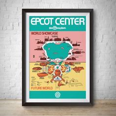 1982 - Vintage Epcot Park Map Poster Print - Disney World – Planet Fan Cave Disney World Attractions, Disney World Parks, Walt Disney Co, Disney Home, Disney Wall Art, Epcot Center, Vintage Disneyland, Disney Merchandise, Photo Wall Art