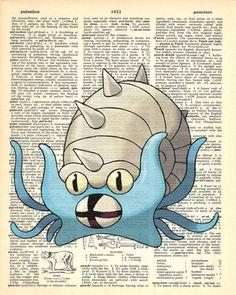 Omastar Pokemon Dictionary Art Print by MollyMuffinsPrints on Etsy
