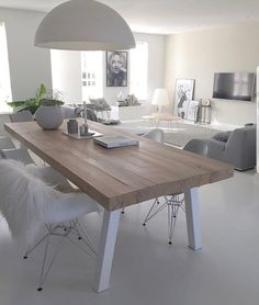 White Dining Table Living Room With Fireplace Dining Room Furniture Modern Furniture Banquette Seating Minimalist Home Decor Living Room Designs Kitchen Accessories Kitchen Dining Eames Dining Chair, Dining Room Furniture, Dining Room Table, Home Living Room, Living Room Decor, Minimalist Dining Room, Dinner Room, Dining Room Inspiration, Apartment Interior