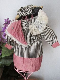 Adorable Antique Commercial Cotton Turn of the 19th Century Doll Dress  Found UNDER THE LILACS on Ruby Lane : http://www.rubylane.com/shop/underthelilacs