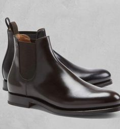 Handmade Men Ankle Dark Brown Leather Chelsea Boot, Brown Formal Boot sold by Mr.Leather on Storenvy, the home of independent small businesses all over the world. Suede Leather Shoes, Black Leather Ankle Boots, Dark Brown Leather, Soft Leather, High Ankle Boots, Shoe Boots, Dark Brown Chelsea Boots, Fashion Models, Leather Store