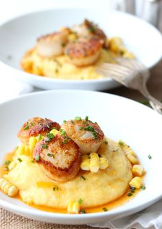 Seared Scallops with Roasted Corn and Chive Butter is the perfect savory dish to serve up for Valentine's Day dinner for you and your honey. Shellfish Recipes, Seafood Recipes, Corn Recipes, Meat Recipes, Pasta Recipes, Seafood Dishes, Fish And Seafood, How To Cook Polenta, Cooking Polenta
