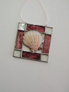 Seashell, Burgundy, Stained Glass, Suncatcher, Decorative by TraceofGlass on Etsy https://www.etsy.com/listing/221279553/seashell-burgundy-stained-glass