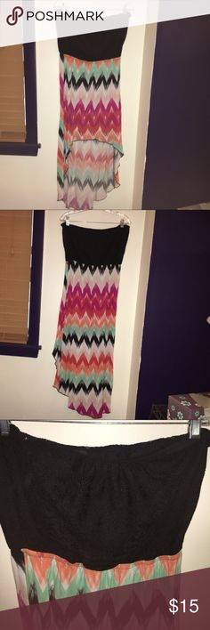 Summer dress Multi colored high low dress, perfect for summer! It is strapless and is very comfortable. When I originally bought it, it had a small black braided belt but I no longer have it. Deb Dresses High Low