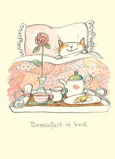 M215 Breakfast in Bed - a cat card by Anita Jeram