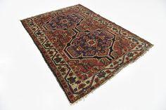 Red 4' 11 x 6' 10 Heriz Persian Rug | Persian Rugs | iRugs UK
