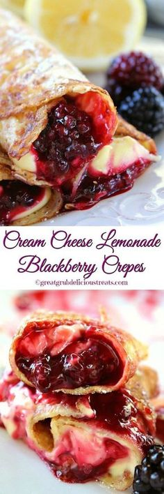 Crepes are so delicious and these cream cheese lemonade blackberry crepes are super delish too! If you are a lover of lemon, and you are a lover of blackberries, then you are going to love these crepes. Crepe Recipes, Brunch Recipes, Sweet Recipes, Dessert Recipes, Cocktail Recipes, Breakfast Desayunos, Breakfast Dishes, Breakfast Recipes, Mexican Breakfast