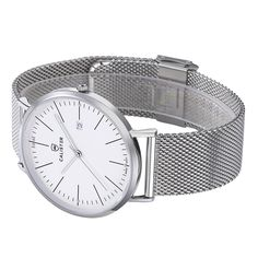 The Bauhaus Silver & White Dial with Mesh Strap brings new dimensions of elegance and comfort to Bauhaus design. The large 41mm diameter contrasts the slenderness of the polished stainless steel case. - BAU004 - #calister