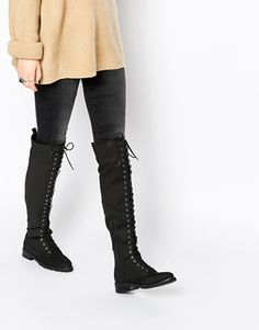 ASOS KNICK KNACK Lace Up Over The Knee Boots