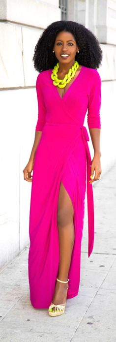 Ecstasy Models — Magenta Wrap Maxi Dress Style Pantry
