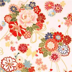 white Asia flower bouquet fabric butterfly gold Kokka 1