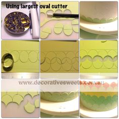 "stripes of circles  fondant to create 4 ""stripes"" consisting of circles creating scalloped edges. Very cute"