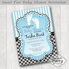 Baby Boy Footprint Shower Invitations Sweet by SmartyPartyDesigns