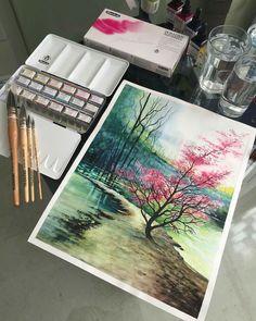 I vivi ed emozionanti paesaggi naturali negli acquerelli di Adem Potaş