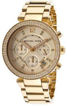 c77c54798e1e Michael Kors Women s Parker Crystal Chrono Two-Tone Stainless Steel Gold- Tone Dial - Watch