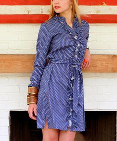 Kayce Hughes Blue Links Ruffle Shirt Dress