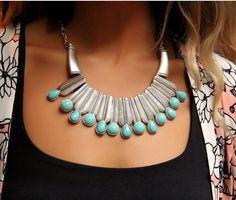 Boho Accessory-Bohemian Tribal Necklace-Gypsy Necklace-Ethnic Necklace-African Necklace-Boho Women-Silver Statement Necklace Choker Jewelry by Trinketmart on Etsy