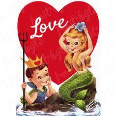 Valentine Images, Vintage Valentine Cards, Valentine Day Cards, Be My Valentine, Vintage Cards, Vintage Images, Fantasy Mermaids, Mermaids And Mermen, Vintage Mermaid