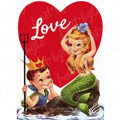 Valentine Images, Vintage Valentine Cards, Valentine Day Cards, Be My Valentine, Vintage Cards, Vintage Images, Pretty Mermaids, Mermaids And Mermen, Fantasy Mermaids