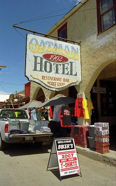 """Route 66 - Oatman Hotel in this former Arizona mining town on Rt. 66. Just for fun, it is haunted, and is famous for hosting newlyweds Clark Gable and Carole Lombard. """"The Fine Art Photography of Frank Romeo."""""""