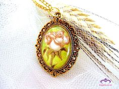 Floral glass art pendant vintage rose flower by MalinaCapricciosa, $12.00