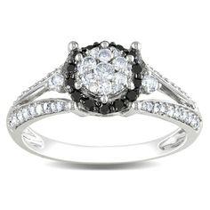 (#8) Miadora 14k White Gold 1/2ct TDW Black and White Diamond Ring (G-H, I1-I2) - overstock - $450.89