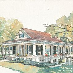 Bluffton Plan #594 | With a deep, metal-roofed porch skirting the front, one entire side, and a portion of the rear of the house, this plan has the look of a Southern, shotgun-style house.