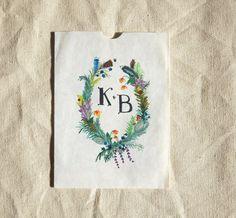 Hand Drawn Custom Floral Wreath  Monogram flowers by SALTYDOGco, $100.00