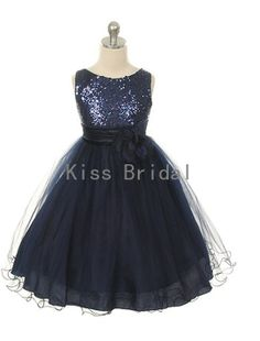 Princess   sleeveless navy blue tulle with sash and by kissbridal, $39.00
