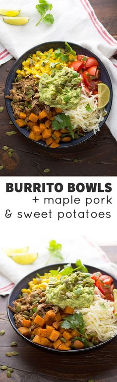 Fall Burrito Bowls with Maple Pork, Sweet Potatoes and Pepitas, an easy week-night dinner ready in 30 minutes! (made with slow cooker maple pulled pork) @sweetpeasaffron