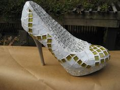 Silver and Gold Mosaic Shoe SculptureRESERVED by tallymosaics, $125.00