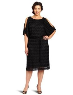 Jessica Howard Women's Plus Size 1 Piece Cold Shoulder Blouson Dress