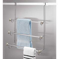 InterDesign® York 3 Tier Over The Door Towel Rack In Brushed Stainless