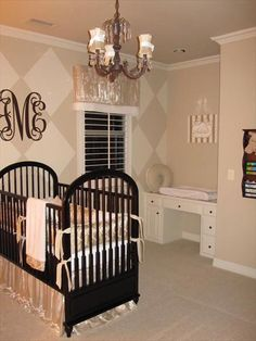 Love the built in changing table that will later become a desk and the diamond wall