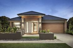 Browse the various new home designs and house plans on offer by Carlisle Homes across Melbourne and Victoria. Find a house plan for your needs and budget today! New Home Designs, Cool House Designs, White Stucco House, Single Storey House Plans, Carlisle Homes, Modern Bungalow House, House Elevation, Front Elevation, Contemporary House Plans