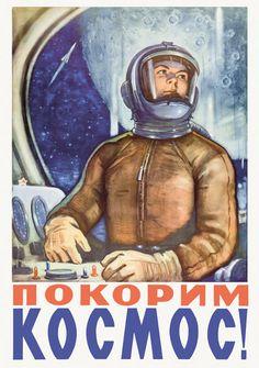 Happy Cosmonautics Day (April 12th anniversary of Gagarin's flight)! Soviet Space Poster postcard reprint (Russia) by katya., via Flickr