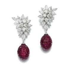Ruby and diamond necklace, Van Cleef & Arpels, 'Verlaine', and a pair of ear clips.