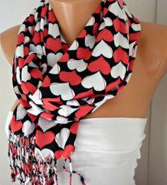 ON SALE - Valentine's Day Heart Scarf Pashmina Scarf Cotton Scarf Shawl Scarf Cowl Scarf - Red - White - Black fatwoman