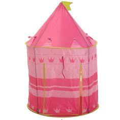Prinsessen tent voor kinderen. Roze speeltent met stipjes en kroontjes. De tent is ongeveer 80 x 80 x 110 cm groot.