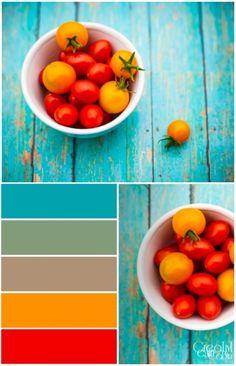 Sun Sugar and Cherry Tomatoe Color Palette Colour Pallette, Color Palate, Colour Schemes, Color Trends, Color Combinations, Room Colors, Paint Colors, Colours, Decoration Inspiration
