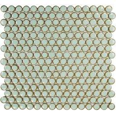 Merola Tile Hudson Penny Round Light Green Porcelain Mosaic Tile - 3 in. x 4 in. Tile Sample-S1FKOMPR13 - The Home Depot