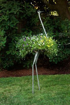 Recycled Metal Ostrich Plant Holders - Art & Sculpture Handmade in Africa…
