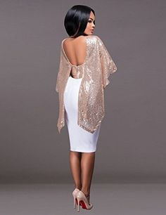 Women Sexy Backless Sleeveless Glistening Sequin Cocktail Club Party Shawl Top Rose Gold L | The Beautyline